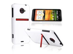 HTC EVO 4G LTE Clip-on Rubber Case , White Rear