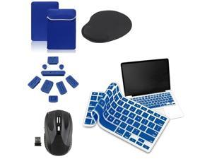 "eForCity Blue Laptop 13.3"" Sleeve + 9-Pieces Anti-dust Plug Cap + Silicone 13.3"" Keyboard Shield Cover + Black 2.4G Cordless ..."