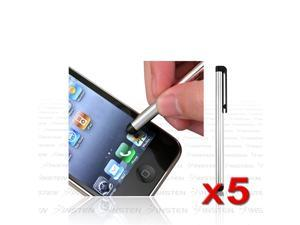 5-Pack Insten Silver Metal Touch Screen Stylus compatible with iPad® 1st 2st 16 32 64GB