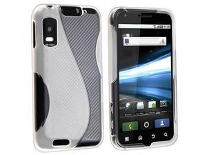 eForCity TPU Rubber Skin Case compatible with  Motorola Atrix 4G MB860, Frost Clear White S Shape