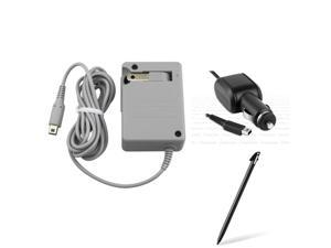 eForCity Gray Travel Charger + Black Stylus + Black Car Charger Bundle Compatible With Nintendo 3DS XL/LL