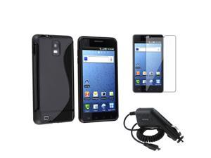 Black TPU Skin Case+Screen Protector+Car Charger compatible with Samsung© Infuse 4G SGH-i997