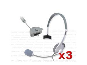 eForCity 3-Pack White Game Headset Earphone w/Mic Compatible With Xbox 360 Live