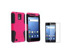 Black Skin / Hot Pink Meshed Hard Hybrid Case + Clear Reusable Screen Protector compatible with Samsung© i997 Infuse 4G
