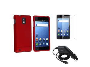 compatible with Samsung© Infuse 4G Phone Red Rubber Hard Case Cover+LCD Film+Car Charger