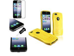 eForCity Yellow Sports Car TPU Rubber Skin Case + Black Plug Cap + Reusable Screen Protector For iPhone 5 / 5S