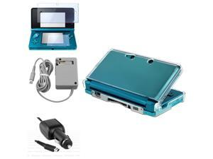 Travel Charger+Car Charger+2-LCD Film Guard+Crystal Case For Nintendo 3Ds