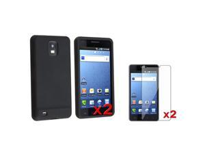 2 Black Silicone Phone Cover Case+2x Screen Film compatible with Samsung© Infuse 4G i997 AT&T