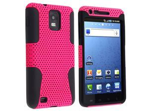 eForCity Hybrid Case for Samsung© i997 Infuse 4G, Black Skin / Hot Pink Meshed Hard
