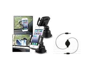 eForCity Retractable Audio Cable + Mount Compatible With Samsung© Galaxy S 2 i9100 SIV S4 i9500