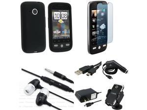 Black Skin Case Guard Cable Car AC Charger Holder Headset compatible with HTC Droid Eris