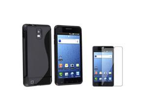 eForCity Black Skin Case+Screen Protector Compatible With Samsung© Infuse 4G