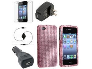 Hard Diamond Bling Pink Case+2 INSTEN Charger+Film+Cable for iPhone® 4G 4 4GS 4S