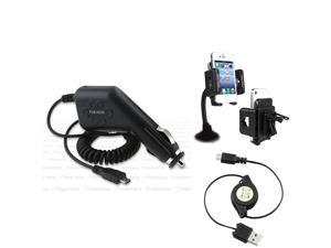 Insten Car Charger+USB+Holder compatible with HTC ThunderBolt G2
