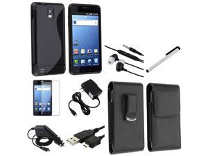 8in1 Accessory Black TPU Skin Case Film compatible with Samsung© Infuse 4G SGH-i997 Bundle