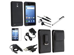 8 Accessory Case Charger Data Cord Film Bundle compatible with Samsung© Infuse 4G SGH-i997