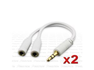 2x 3.5mm INSTEN Splitter Headset Adaper compatible with iPhone® iPod®