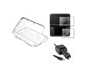 Car Charger+Clear Crystal Case+2-LCD Screen Protector For Nintendo 3DS XL