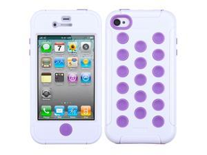 MYBAT Natural Ivory White/Electric Purple TUFF Hybrid Phone Protector Cover for Apple® iPhone 4S/4