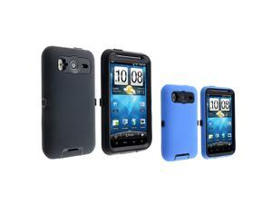 eForCity Two Hybrid Case Cover Compatible With HTC Inspire 4G / Desire HD  - Black Skin / Black Plastic/ Blue Skin / Black ...