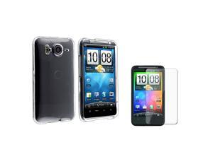 eForCity Snap-On Crystal Case With Clear Screen Protector Compatible With HTC Inspire 4G/ Clear