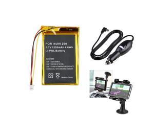 eForCity Battery+Holder+Car Charger Compatible With Garmin Nuvi 200 200W 205