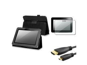 eForCity Black Leather Stand Case + 2x Screen Protector + 3FT HDMI Cable Compatible With Kindle Fire HD 7-inch (2012 Version)