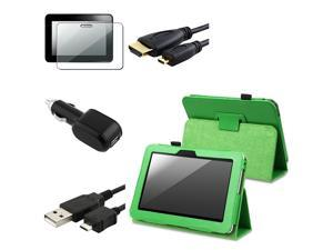 Green Leather w/ Stand Case + Shield + USB + Car Charger + 6FT HDMI Compatible With Kindle Fire HD 7-inch (2012 Version)
