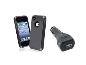 eForCity Black TPU / Black Hard Hybrid Case with 1 Car Charger Adapter compatible with Apple® iPhone 4 / 4S