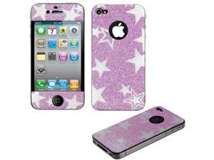 Pink Star Glitter Full Body Screen Protector Compatible With Apple iPhone 4S / 4