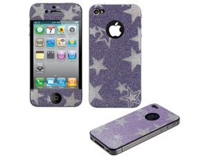 Purple Star Glitter Full Body Screen Protector Compatible With Apple iPhone 4S / 4