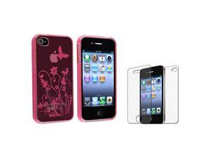 eForCity Clear Hot Pink Flower with Butterfly TPU Rubber Skin Case with FREE 2 LCD Kit (Front & Back) Anti-Glare Screen Cover ...