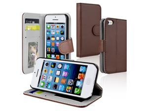 Apple iPhone 5C Stand Wallet Leather Case w/Crd Hldr, Brown