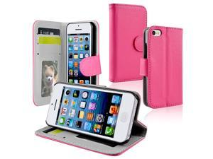 Apple iPhone 5C Stand Wallet Leather Case w/Crd Hldr,Ht Pink
