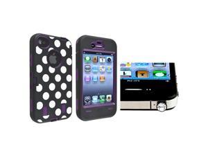 eForCity Purple/Black White Dot Hybrid Case with FREE Clear Diamond Headset Dust Cap Compatible With iPhone 4/4s
