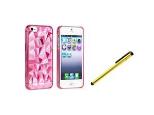 eForCity Clear Light Pink Diamond Cut Snap-on Case + Yellow Universal Touch Screen Stylus Bundle Compatible With Apple® iPhone ...