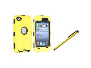 eForCity Black Hard/ Yellow Skin Hybrid Case+Yellow Universal Touch Screen Stylus Compatible With Apple® iPod Touch 4th Generation