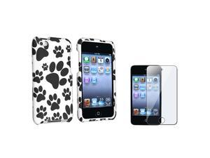 Black / White Paw Snap on Rubberized Case Compatible with Apple® iPod touch 4th Generation, Bonus Clear LCD Screen Protector ...