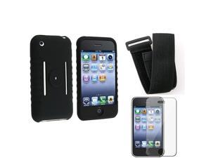 eForCity iPhone Soft Black Silicone Skin Case + Adjustable Sports Armband + Premium LCD Screen Protector Compatible With ...
