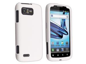 Snap-on Rubber Coated Case compatible with Motorola Atrix 2 MB865, White