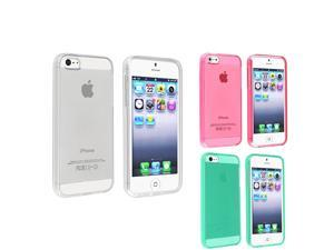eForCity 3-Pack TPU Rubber Case Combo compatible with Apple iPhone 5 / 5S, Clear / Clear Hot Pink / Clear Neon Green