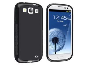 eForCity TPU Rubber Skin Case Compatible With Samsung© Galaxy SIII / S3, Black