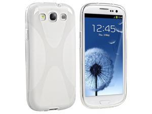 eForCity TPU Rubber Skin Case compatible with Samsung© Galaxy SIII / S3 , Clear X Shape