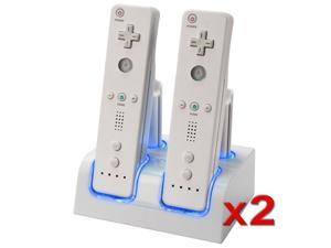 eForCity 4 Remote Control Battery Charging Station + 8 Rechargeable Batteries For Nintendo Wii