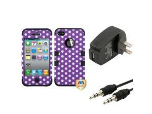 eForCity Wall Charger + Audio Cable + Dots Purple/white/Black Hybrid Case compatible with Apple® iPhone 4S/4
