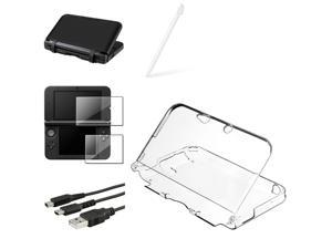 eForCity Black Silicone Skin Case + 2-LCD Kit Reusable Screen Protector + Clear Crystal Case Bundle Compatible With Nintendo ...