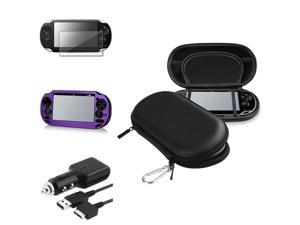 eForCity Black Eva Case + Purple Aluminum Case + Reusable Screen Protector Bundle Compatible With Sony Playstation Vita