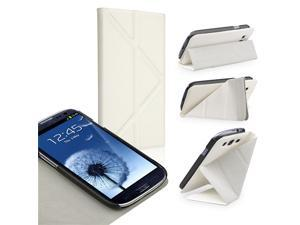 eForCity Leather Case with Foldable Stand Compatible With Samsung© Galaxy SIII / S3, White