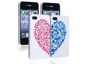 eForCity Valentine's Day Gifts - Clip on Case Compatible With Apple® iPhone 4 / 4S, White with Red / Blue Heart Rear x 2-Pack