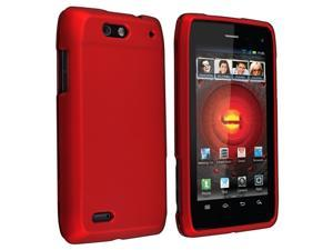 Snap-on Rubber Coated Case compatible with Motorola Droid 4 XT894, Red